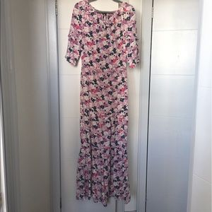 Juicy Couture pink floral silk maxi dress